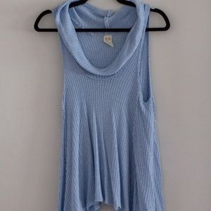 Free People Light Blue Cowl Neck Top